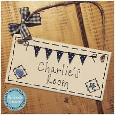Personalised Name Plaque Door Nursery Bedroom Sign Gift Baby Boys Bunting Room