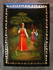 Russian hand painted lacquer box from Fedoskino. Very rare box!