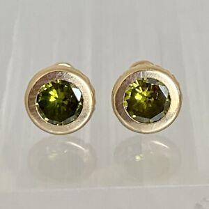 14K Genuine Yellow Gold Peridot Bezel Stud Earrings | 7 In diameter