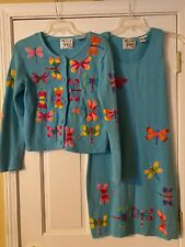 Vintage Michael Simon 2 Pc Dragonfly Sweater & Dress Sz Small Embroidered Beaded