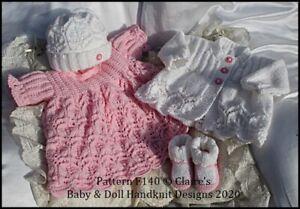 "REBORN DOLL OR BABY KNITTING PATTERN F140 DRESS SET 16-22"" DOLL 0-3M BABY"