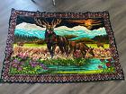 Vtg Tapestry Wall Hanging velvet CABIN Deer Stag Outdoor Mountain Scene Rug