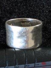 Vintage 925 Sterling silver wide band ring, size L, width 12mm