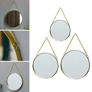 Round Hanging Mirror Gold Decorative Geometry Wall Mounted Mirror with Chain