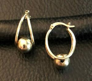 """Gold Sterling Silver Earrings Huggie Hoop Ball Spinner Oval JCM .90"""" 3g 925#1983"""