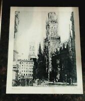 "Antique Print Signed ""Munchen"" Bavaria Signed by artist  Munich Germany"