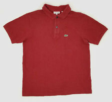 $575 Lacoste Kid Boy Classic-Fit Red Short-Sleeve Pique Polo Croc Logo Shirt 14