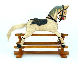 """VINTAGE - MINIATURE MODEL HAND PAINTED CARVED WOOD ROCKING HORSE - 8.75"""" x 7.5"""""""