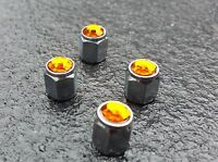 Orange Jewel Crystal Gem Diamond Tire alloys Valve Dust Caps  Car BMX Bike #210