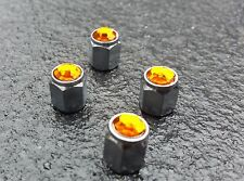 Orange Jewel Crystal Gem Diamond Tire alloys Valve Dust Caps x4 Car BMX Bike