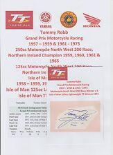 Tommy Robb MOTO PILOTA 1957-1973 iomtt RARO originale firmato a mano taglio