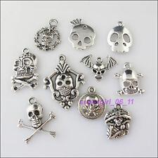 10Pcs Mixed Tibetan Tibetan Silver Tone Skull Charms Pendants