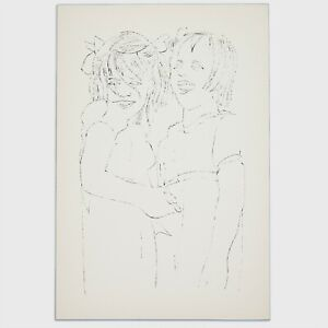 Andy Warhol Rare Vintage 1954 Original Two Girls Laughing Lithograph