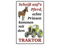 Scheiss Auf's sur Cheval Tracteur Panneau Métallique Plaque Voûté Étain Signer