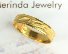 24K Solid Pure Gold Diamond cut Band Ring 3.30 Grams. Size 7.25