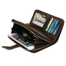 Genuine Leather Woman Man Wallet  ID Credit Card Purse Coin Pouch for iPhone 5 6