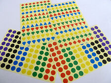 Mixed Colour Stickers Small 8mm Shapes and Circles, Coloured Sticky Labels BL160