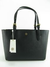 NWT Tory Burch Emerson Small Buckle Leather Tote Handbag in Black $295