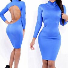 Women Sexy Bodycon Bandage Backless Dress Long sleeve Fitted All Body Curves M