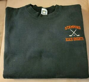 VINTAGE STAMFORD HIGH SCHOOL CT BLACK KNIGHTS ICE HOCKEY TEAM SWEATSHIRT SIZE XL