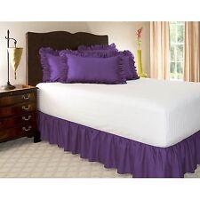 Harmony Lane Ruffled Bedkirts - 14 Inch Drop, King, Grape. High Quality,