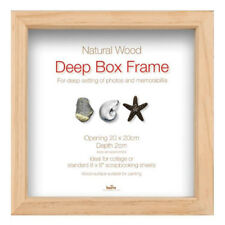 "Innova Natural Wooden Brown Standard Deep Box Picture Frame 20 x 20 cm (8""x8"")"