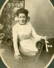 ANTIQUE CABINET CARD PHOTO LOVELY YOUNG WOMAN w HAIR BOW SETTEE MONTREAL CANADA