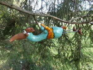 Fliegender Vogel Keramik, frostsicher Unikat Vogel, türkis, Gartendeko