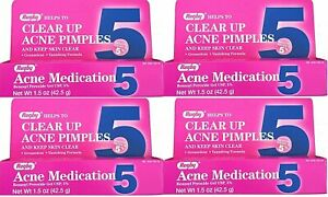 Benzoyl Peroxide 5 % Generic for Oxy Balance Acne Medication Gel for, 4 Pack