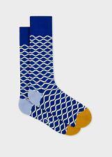 Paul Smith Mens English Socks Wavy Line Blue &  White K928 One Size Cotton Mix