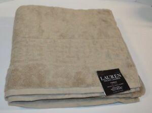 """Ralph Lauren Pierce Natural Taupe Bath Towel 30"""" X 56"""" Soft Cotton"""