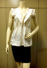$205 BCBG OFF WHITE (EHT16410) CROCHET EMBROIDERY SLEEVELESS SILK TOP NWT XS