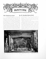 Antique Old Print Chimney-Crane Ironwork Fireplace Warnam CourtPages 1917