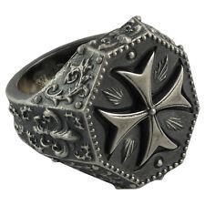 Biker Cross Knights Templar Ring Size us 10.5 Sterling Silver 925 Masonic 19 gr.