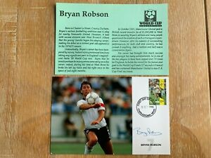NEVIS 1990 MAXICARD WORLD CUP FOOTBALL ITALIA SIGNED BRYAN ROBSON MANCHESTER UTD