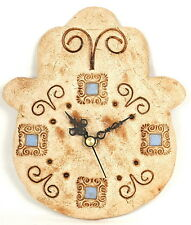 Hamsa Hand Stone Wall Clock, Charm Made in Israel, Have a Good Luck Time :)  S