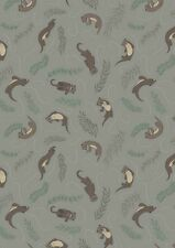By 1/2 Yard ~ Down by the River Playful Otters in Pebble ~ Lewis & Irene Fabric