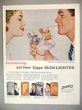 Zippo Cigarette Lighter PRINT AD - 1956 ~~ new Slim-Lighter