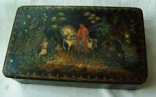 Vintage old russian USSR wood box hand painted 1951