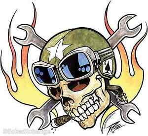 Bomber Ace Flaming Wrench Skull Sticker Decal Artist The Pizz P65