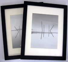 Lot-6, Picture wood frame 11x14 Black  smooth finish + mat for 8x10 photo