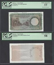 Nigeria 2 Notes 10 Shillings ND(1958) P3p-P3s Specimen-Proof About Uncirculated
