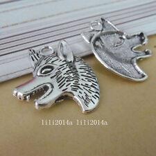 5pc Tibetan Silver Wolf head Animal Pendant Charms Beads Accessories  PL1093