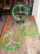 3 GREEN DEPRESSION GLASS DIVIDED GRILL PLATES Vaseline Uranium Glow 10 1/2""