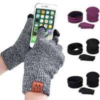 3 Pcs Men Women Hat Scarf Gloves Set Winter Warm Wrap Touch Screen Outdoor Sets