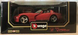 Burago ~ 1992 Dodge Viper RT/10 1:18 Scale Die-cast Replica #3025 (NEW IN BOX)