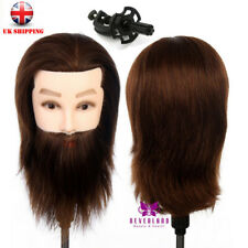 14'' 100% Real Human Hair Mannequin Doll Male Men Training Head Styling + Clamp