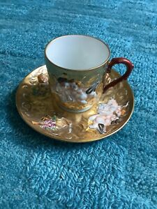 Capodimonte Hand-Painted Demitasse Cup + Saucer W/ Gold Design