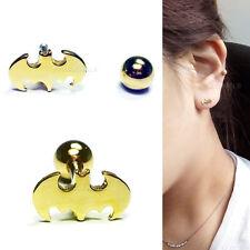 16G Gold Plated Bat Mens Barbell Earrings Body Lip Ear Piercing Helix Cartilage