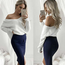 Women Off The Shoulder Knitted Pullover Jumper Sweatshirt Sweater Blouse Top New